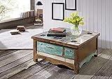 MASSIVMOEBEL24.DE Massivholz massiv Möbel Holz Couchtisch 90x90 lackiert Altholz massiv Möbel Nature of Spirit #07