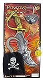 Piraten Set 5-TLG. - Säbel mit Augenklappe, Enterhaken und Ohrring für Kinder - zum Kostüm Seeräuber Freibeuter Fasching Mottoparty Kindergeburtstag
