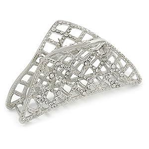 Unbekannt Große Kristall Quadrat Muster Haarklammer in Rhodium-Plattierung–90mm über