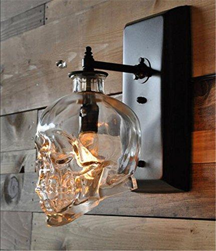 HHORD Glas (5w) personalisierte kreative Wasser Pfeife Bar Wandleuchte moderne einfache Outdoor retro industriellen Wind Schädel Kopf Wein Flasche Wand Lampe (20 * 20cm) (Wein-flaschen-licht-buchse)