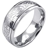 Konov Jewellery Mens Womens Stainless Steel Ring, Engraved Florentine Design Charm 8mm Band, Color Silver (with Gift Bag)