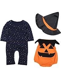 Le SSara Bébé Hiver Citrouille Halloween Barboteuse Nouveau né Body Costume Costumes 3 pcs
