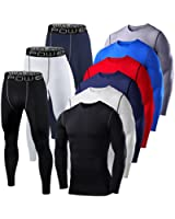 Mens & Boys PowerLayer Gym Compression Performance Thermal Base Layer Set Top + Tights
