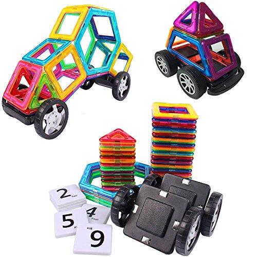 Magnetic Blocks Magnetische Bausteine 56 Stück Tolles Weihnachtsgeschenk Magnetspielzeug Lernspielzeug für Baby,Kleinkinder ab 3 Jahre | Perfekt für den Einsatz zu Hause, in Schulen, Picknick, Kindertagesstätten Magnetische Konstruktion Blöcke (Baby Junge Ideen)