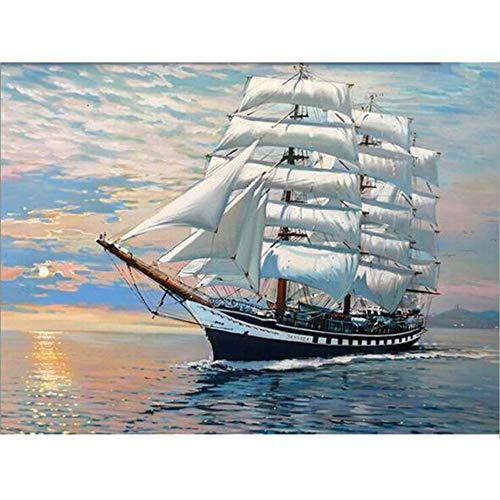 Dreamsy DIY Ölfarbe nach Anzahl Kit, Malerei Malerarbeiten Meer Segelboot Wandkunst Bild Zeichnung mit Pinsel 16 * 20 Zoll Weihnachten Dekor Dekorationen Geschenke (ohne Rahmen)