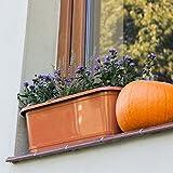 Blumenkasten mit Wasserspeicher und Untersetzer Blumentopf Balkonkasten terracotta 40 cm