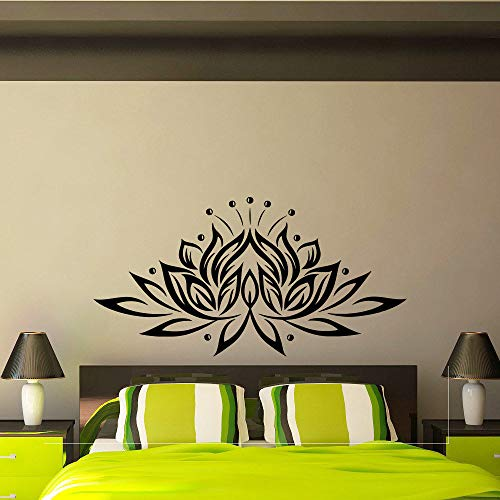 WWYJN Lotus Flower Vinyl Wall Sticker Creative Design Wall Decals for Living Room Bedroom Background Decor Adhesive Decal Yoga Gray 109x56cm (Leuchtturm Samsung 5 Fall)