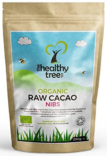 Granos de Cacao Crudos Orgánicas | Superalimento delicioso, apto para vegetarianos y veganos | Alto en magnesio, fibra, potasio y hierro | Certificado de orgánico por la Soil Association | Plumillas de Cacao por TheHealthyTree Company