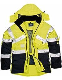 Hi VIS Breathable Safety Jacket Coat Radio Loop D Ring High Visibility Workwear
