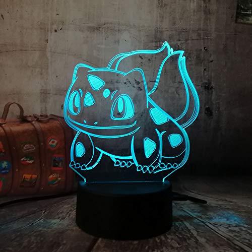 Orangeww 3d visuelle Illusion Lampe/Touch Tisch Schreibtischlampe / 7 Farbe Licht für Mädchen/Kinder Tag Geschenk/Kunst und Kunsthandwerk/Pokemon Bulbasaur
