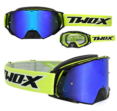 TWO-X Rocket Crossbrille schwarz gelb Glas verspiegelt blau MX Brille Nasenschutz Motocross Enduro Spiegelglas Motorradbrille Anti Scratch MX Schutzbrille Nose Guard