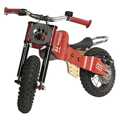 MAAMUU TERRA bici senza pedali off-road in legno naturale, balance bike rosso...