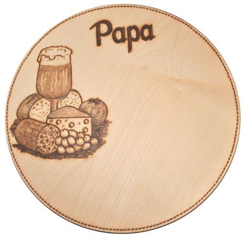 Schneidebrett Schinkenteller Holzteller Pizzateller Ahorn massiv rund, ca. 35 cm mit handgebranntem Motiv und Gravur