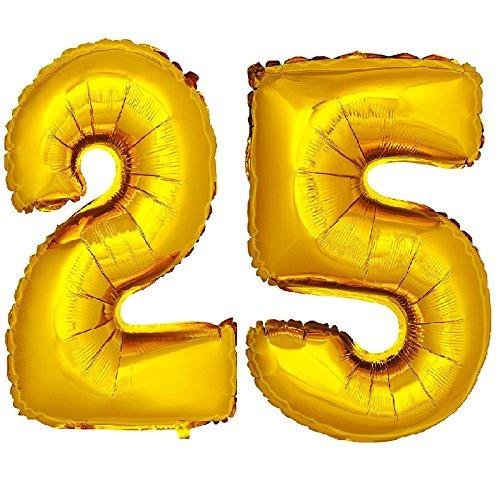 DekoRex número Globo decoración cumpleaños Brillante para Aire en Oro 40cm de Alto No. 25