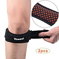 Yoassi 2 x Adjustable Knee Braces, Anti-Slip Design Unisex Patella Tendon Straps Knee Support with Silicone Pad for Pain Relief(2 Pcs) ...