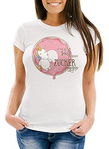 süßes Damen T-Shirt Einhorn auf Donut Ich bin so süß ich könnte Zucker pupsen Unicorn Spruch Slim Fit Moonworks® weiß XS
