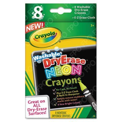 Washable Dry Erase Crayons w/E-Z Erase Cloth, Assorted Neon Colors, 8/Pack, Sold as 1 Set by Crayola