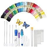 SODIAL Ricamo magico Pugno Ago, Penna ricamo Set Strumento artigianale tra cui 50 fili colorati per ricamo Threaders Knitting strumento di cucito