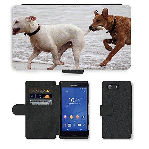 Just Phone Cases PU LEDER LEATHER FLIP CASE COVER HÜLLE ETUI TASCHE SCHALE // M00421764 Hunde Stöckchen zu spielen Beißen Romp // Sony Xperia Z4 E6553