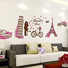 romntico de la torre eiffel mariposas adhesivo decorativo para pared casa de vinilo extrable papel pintado de saln dormitorio cocina arte imagen pvc