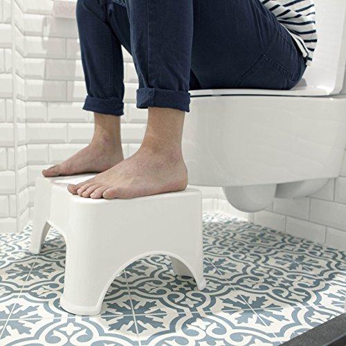 ToiletSquat Toilettenhocker | Medizinische Toilettenhilfe Tritthocker | bessere Sitzhaltung auf der Toilette für Erwachsene | Weiß | gegen Verstopfung und Hämorrhoiden | Größe 47 * 32 * 21 cm