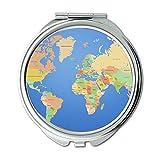 Yanteng Taschenspiegel, Compact Mirror Round Compact Mirror Doppelseitig, WeltkarteWallet Spiegel für Männer/Frauen MT 006
