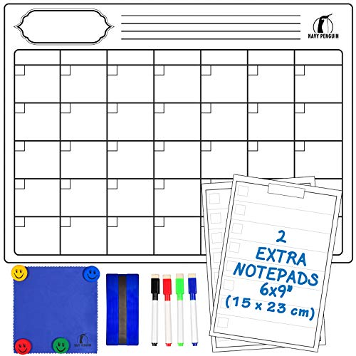"Whiteboard Monthly Calendar Set - Magnetic White Board Calendar 17 x 13"" + 2 Dry Erase Notepads 6 x 9"" + 1 Dry Eraser, 1 Erasing Cloth, 4 Dry Wipe Markers, 4 Magnets - Fridge Organiser for Kitchen"