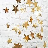 Pailletten Papier Star Schnur Banner Wimpelkette Aufhängen Deko für Hochzeit Party Weihnachten 2Pack gold