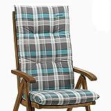 4 Kettler Auflagen für Hochlehner Dessin 770 Rudi in blau-grau kariert ohne Sessel