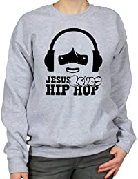 Jesus Loves Hip-Hop Urban Humour Womens Sweatshirt