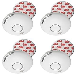 SEBSON 4x Wireless Smoke Alarm incl. Magnetic Fixing, Interlink Smoke Detector with Heat Alarm GS558, Heat Detector, photoelectric Smoke Alarm, Battery included, DIN EN 14604 certified