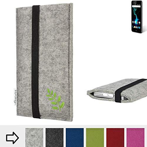 flat.design Handy Hülle Coimbra für Allview P6 Pro Made in Germany Handytasche Filz Tasche Case grün Blatt Blätter Natur
