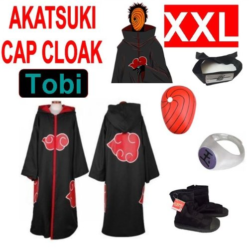 Hot!Naruto Cosplay Set für Tobi - Akatsuki Mantel (XXL) + Narudo Tobi Maske (rot) + Tobi (Uchiha Madara) ring + Tobi Uchiha Itachi Stirnband + Naruto Akatsuki (Tobi Kostüm Cosplay)