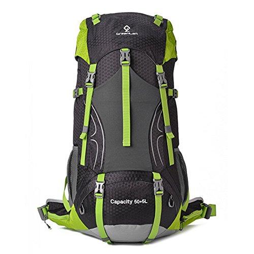 dohot grande 55Litri Impermeabile Viaggio Campeggio Escursionismo Zaino Alpinismo Arrampicata Zaino Borsa con copertura impermeabile, Black Black