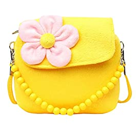 Fablcrew, borsetta da principessa con fiori di peluche e perline per bambine giallo Yellow 14x4x12cm