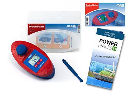 SPAR-SET - PoolScan + Refill Pack mit 60 Tabletten von mediPOOL und Powerhaus24 Pflegefibel - Photometer für den anspruchsvollen privaten Schwimmbad- und Whirl Pool Betreiber