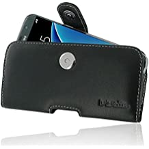 Samsung Galaxy S7 edge Case, Leather Case, Pouch, Holster, Wallet Case, Protective Case, Phone Case - Horizontal Pouch Case with Belt Clips (Black) by Pdair
