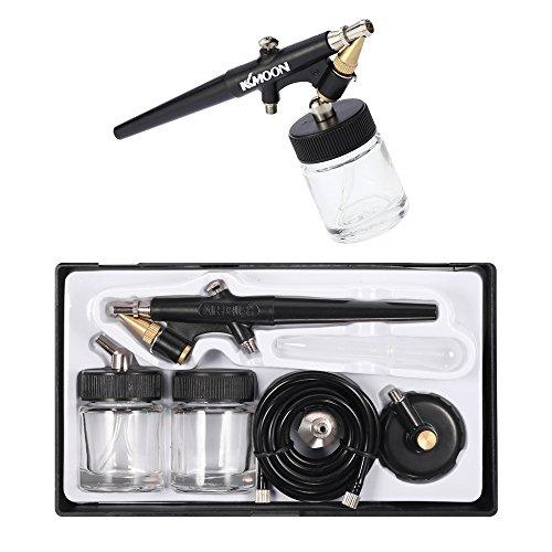 KKmoon Single Aktion Airbrush Set, 0,8 mm Einstellbare Spritzpistole mit 10PCS Airbrush Sprühdose Glasflaschen für Makeup Tattoo Nageldesign Malerei Spritz und Sprühenwerkzeuge Schwarz Transparent (Siphon-feed-cup)