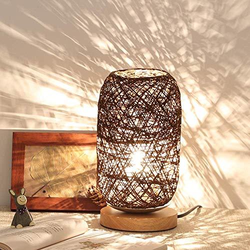 CCLAY Tischlampe Holz Rattan Schnur Kugel Lichter Tischlampe Zimmer Home Art Decor Schreibtisch Licht (Beige/Braun),Brown