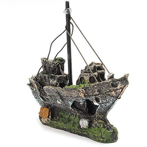 Youyababay Harz Angeln Schiff Aquarium Dekor, Corsair Schiff Versunkene Boot Segelschiff für Aquarium Dekoration,ideal für kleine Garnele Fisch Schildkröte - Dekor Schiffe