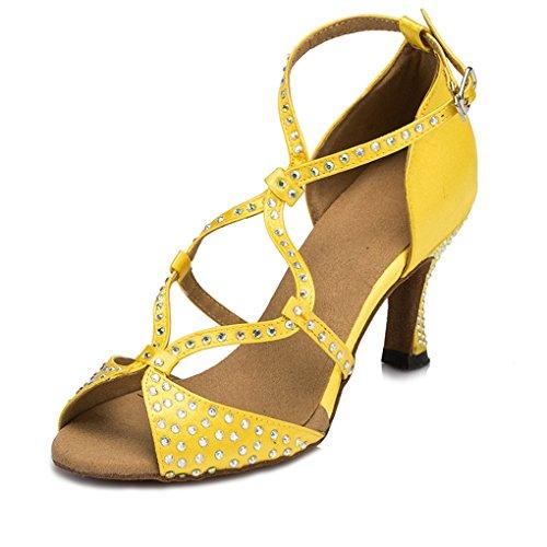 Minitoo chaudes pour femme en Satin pour mariage fête Sandales Cha Cha Latin Chaussures de danse Jaune - jaune