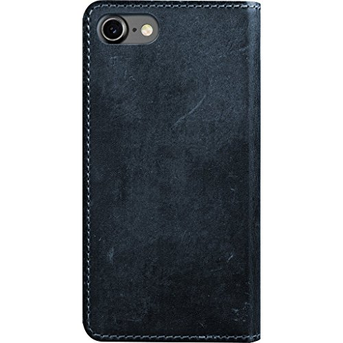 Nomad Horween Leather Folio Case for iPhone 7 Plus - With Cards and Cash Pockets - Rustic Brown Midnight Blue
