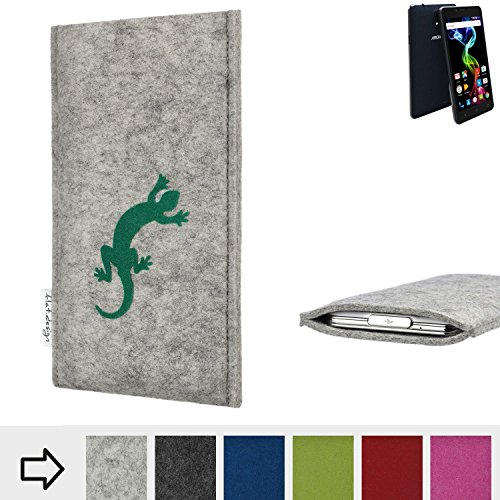 flat.design Handy Hülle Faro für Archos 55b Platinum Made in Germany Handytasche Filz Tasche Case Gecko grün fair