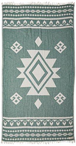 Bersuse 100% cotone - asciugamano turco uxmal - certificato oeko-tex - peshtemal fouta per bagno e spiaggia - pestemal tessuto a mano con design azteco - 100x180 cm, verde foresta