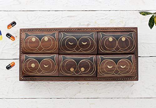 Set bestehend aus 6 Holz pillenboxen, Wooden Owl Pill Box with 6 compartments medizinischen Spendern mit Tablett und Einlegearbeiten aus Holz-Eule -