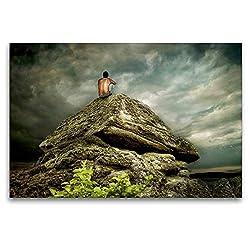 Calvendo Premium Textil-Leinwand 120 cm x 80 cm quer, Bergmeditation | Wandbild, Bild auf Keilrahmen, Fertigbild auf echter Leinwand, Leinwanddruck: In der Stille Glaube Glaube