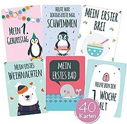 40 Baby Meilenstein-Karten für Jungen und Mädchen mit hochwertiger Verpackung von Cozy Racoon (Sprache Deutsch) - Meilensteinkarten - Geschenk zur Geburt, Babyparty, Schwangerschaft