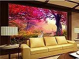 Abihua Wandbilder 3D Room Wallpaper Benutzerdefinierte Mural Foto Rote Blume Waldmalerei Bild 3D Wandbilder Wallpaper Für Wände 3D 200Cm X 100Cm