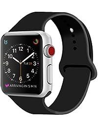 ZRO pour Apple Watch Bracelet, Silicone Souple Remplacement Sport Bande de Montre pour 42mm iWatch Série 3/ Série 2/ Série 1, Taille M/L, Noir