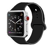 ZRO für Apple Watch Armband, Soft Silikon Ersatz Uhrenarmbänder für 38mm iWatch Serie 3/ Serie 2/ Serie 1, Größe M/L, Schwarz